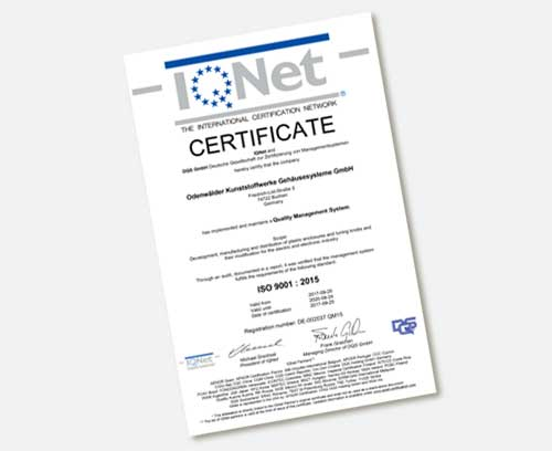 ISO 9001:2015 IQNet Certificate
