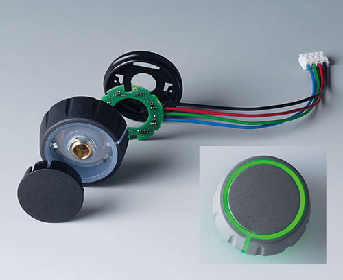 Individual parts of CONTROL-KNOBS with RGB backlight, illumination on top and side surfaces