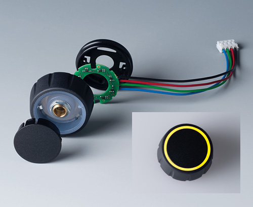 Individual parts of CONTROL-KNOBS with RGB backlight, illumination on top surface