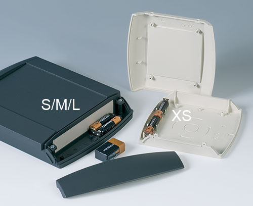 Battery compartment S, M & L for 2 x AA or 1 x 9 V cells; battery compartment XS for 2 x AA cells
