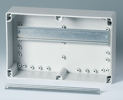 Internal fastening pillars for DIN rails