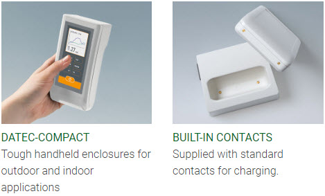 Handheld enclosures with contacts